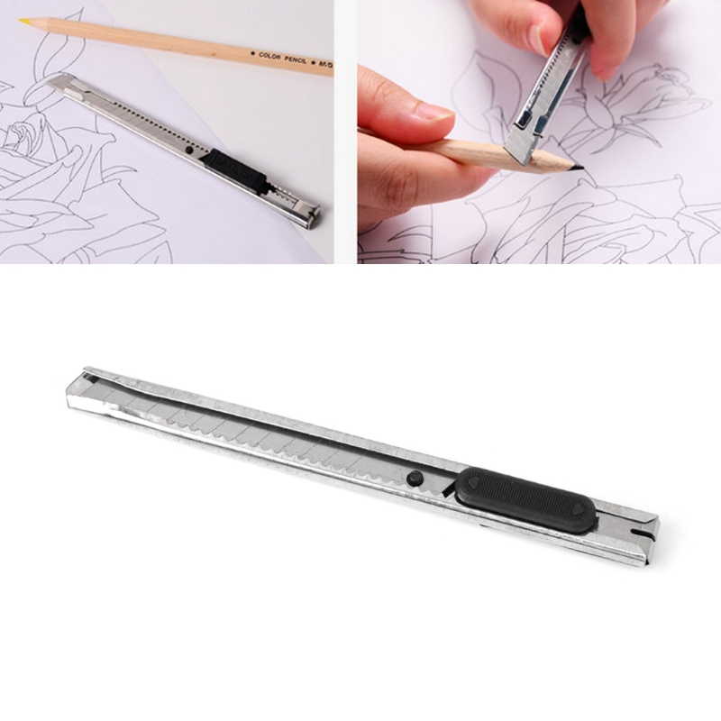 1Pcs Silver Stainless Steel Utility Knife Slim Snap Off Blade Letter Cutter Retractable Razor Tool