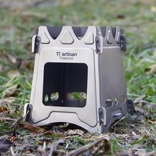 Camping Wood Stove Portable Outdoor Folding Titanium Burning Backpacking Survival Cooking Hunting BBQ Accessories