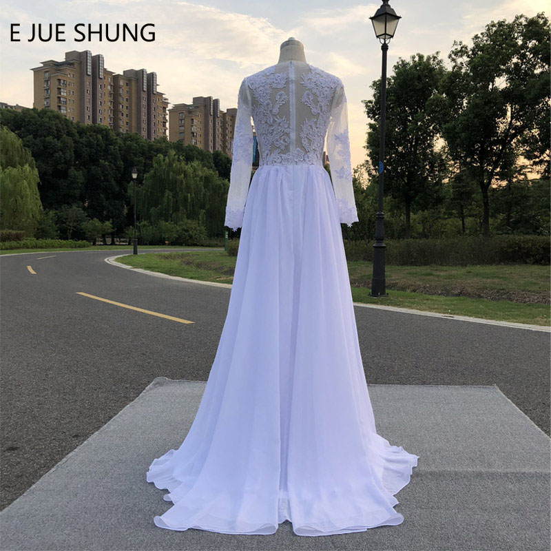 Wedding Dresses Wedding Gown Sheer Long Sleeves White: JIERUIZE White Vintage Lace Appliques Beach Wedding