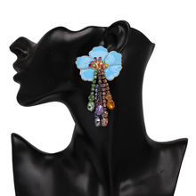 hot deal buy big earrings leaf trendy statement earrings rhinestone dangle earrings large bohemian beach earring jewelry for women
