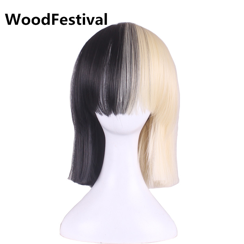 WoodFestival two color blonde black wig cosplay short wigs for women heat resistant synthetic wigs with bangs bob