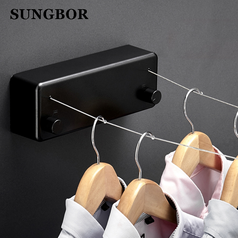 Space Aluminum Wall Hanger Retractable Indoor Clothes Hanger Magic Drying  Cloth Cord Bathroom Accessories 4M Clothesline GJ-112