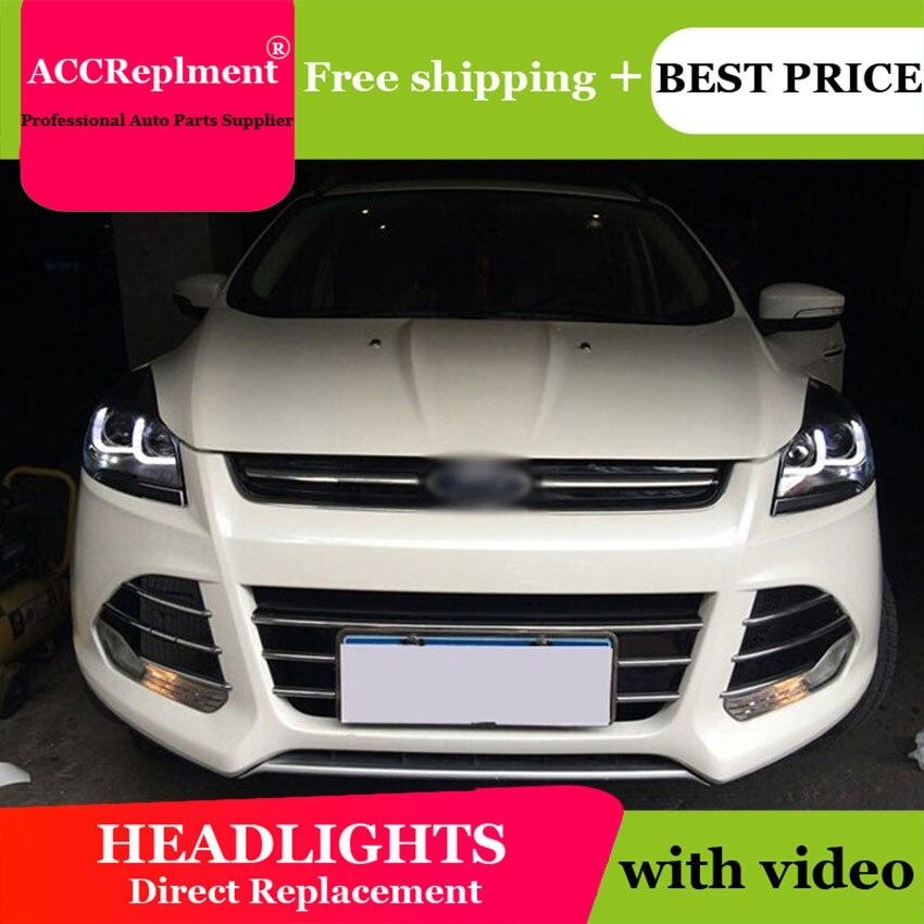 AUTO. PRO pour ford kuga phares 2013-2015 pour ford kuga xénon H7 phares Double u Angel eyes DRL + HID Kit + Q5 bi xenon lentille