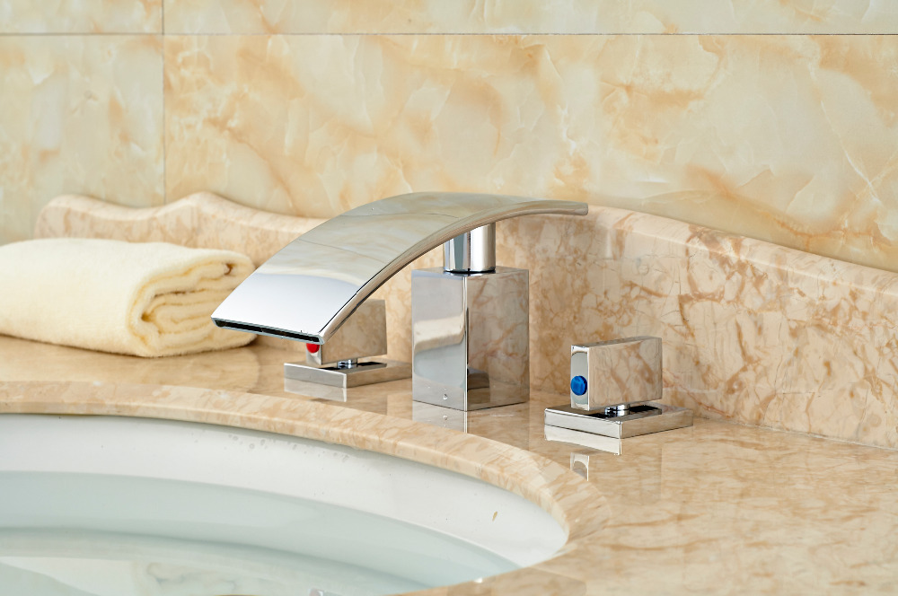 Modern Chrome Brass Bathroom Basin Deck Mounted Sink Faucet Waterfall Mixer tap 3PCS bathroom faucet advanced modern glass waterfall contemporary chrome brass bathroom basin faucets sink mixer waterfall tap