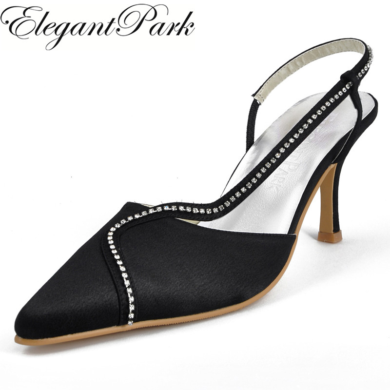 Black Sexy Sandals Woman Shoes EP11003 Pointed Toe Rhinestone Slingback High Heel Satin Lady Prom Pumps Women's Wedding Shoes