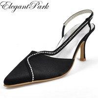 Siyah Seksi Sandalet Kadın Ayakkabı EP11003 Sivri Burun Rhinestone Slingback Yüksek Topuk Saten Lady Balo Pompaları kadın Düğün Ayakkabı