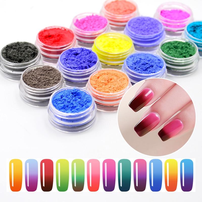 1 fles thermisch pigment 1 g temperatuur kleurverandering holografische nagel glitter poeder manicure nail art gradiënt poeder