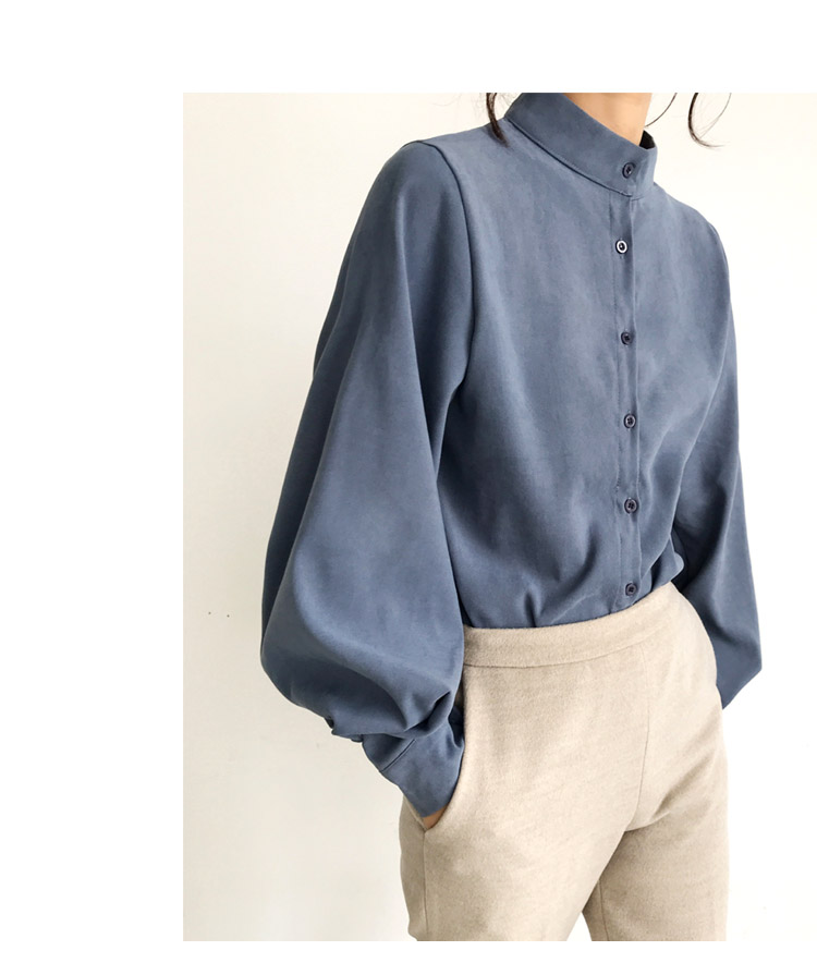 HTB1LOc2bijrK1RjSsplq6xHmVXaB - Fashion women blouse shirt lantern long sleeve women shirts solid stand collar office blouse womens tops and blouses 2516 50