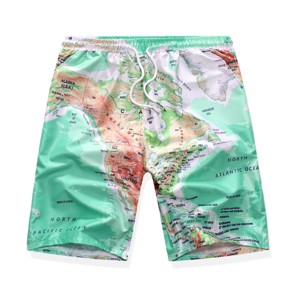 Map Print Beach Shorts Swimwear Trunks Board Short Quick Dry Pants Swimsuits Mens Running Gym Sports Surffing Shorts