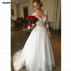 Image 2 - Vestido De Noiva 2 in 1 Long Sleeves Wedding Dresses Illusion Back Lace Appliques Bridal Dress Ball Gown Bride RW03