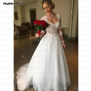 Image 2 - Vestido דה Noiva 2 ב 1 ארוך שרוולי חתונת שמלות אשליה חזור תחרת אפליקציות כלה שמלת כדור שמלת הכלה RW03