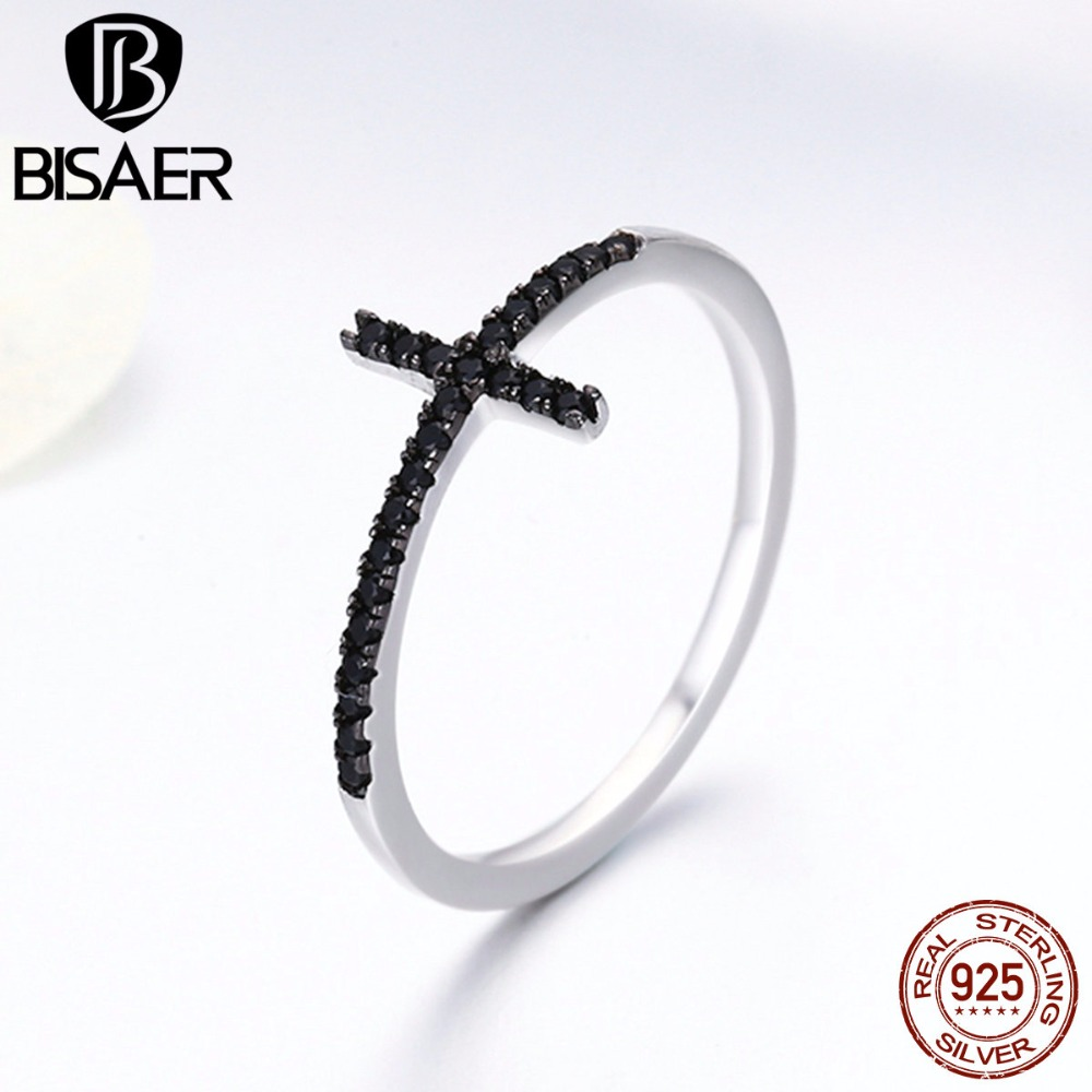 Authentic 925 Sterling Silver Black Clear CZ Faith Cross Shape Finger Rings for Women Sterling Silver Ring Jewelry Gift GXR067