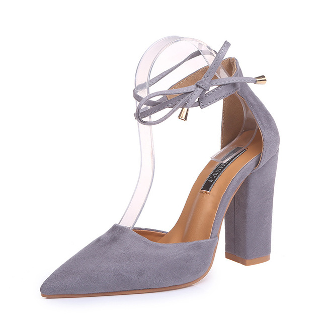 2018 spring new women shoes basic style retro fashion high heels 4