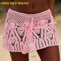 2019 New Sexy Crochet Beach Skirt Cotton Swimsuit Fused Skirt Casual Beach Running Lace See Through Slim Mini Skirts