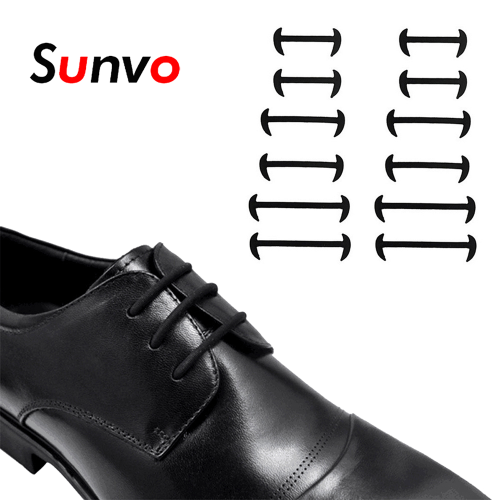 7c86a9077d975 12pcs Elastic Silicone Leather Shoe Laces New Novelty Waterproof for Lazy  Business Shoes Boot No Tie Shoelaces Black Brown White