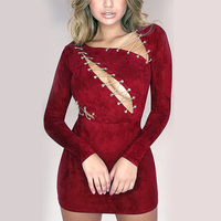 2017 Autumn Winter Sexy Bandage Dress Sexy Lace Up Faux Suede Leather Bodycon Mini Dresses Long