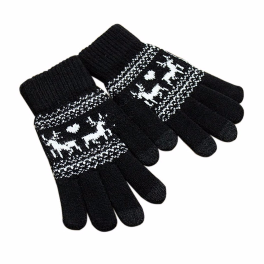 Women Girls Winter Warm Gloves Touch Screen Knitted Thicken Gloves Full Finger f