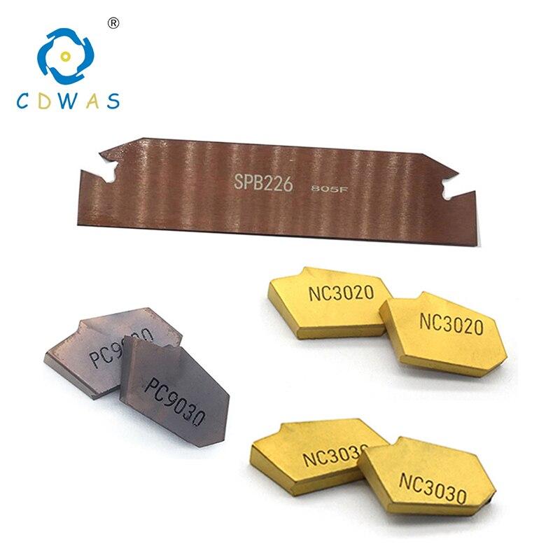 SPB226 1pc+10pcs SP200 NC3020 PC9030 High quality Set Grooving SPB Slotting and Cutting Insert SPB26-2 Lathe CNC Tool Holder