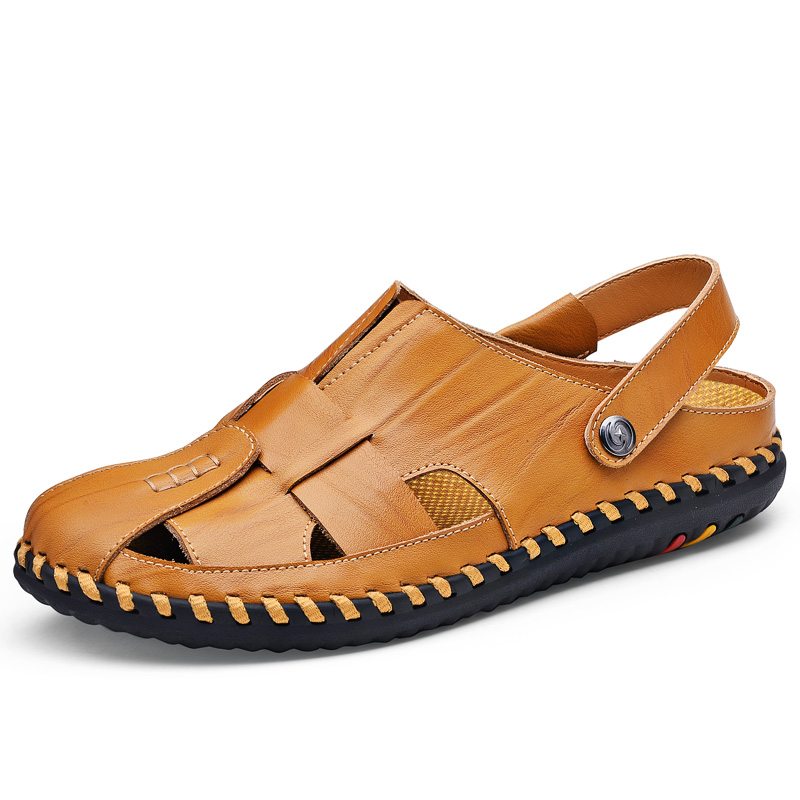 GNORNIL Brand Men Sandals Leather Summer Men Shoes 2018 High Quality Soft Non-slip Closed Toe Casual Beach Sandals Size 38-44