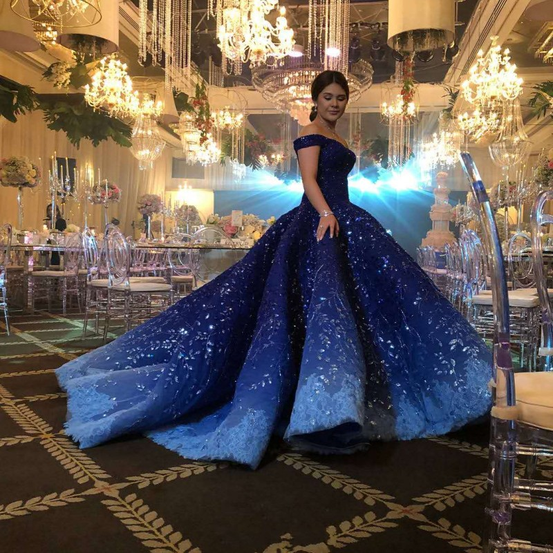 Blue Wedding Dresses 2019: Luxury Royal Blue Ball Gown Wedding Dress 2019 Dubai Arab