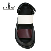 цена на Fashion Summer Genuine Leather Men Sandals Rome Gladiator Male Casual Platform Sandal Shoes High Quality