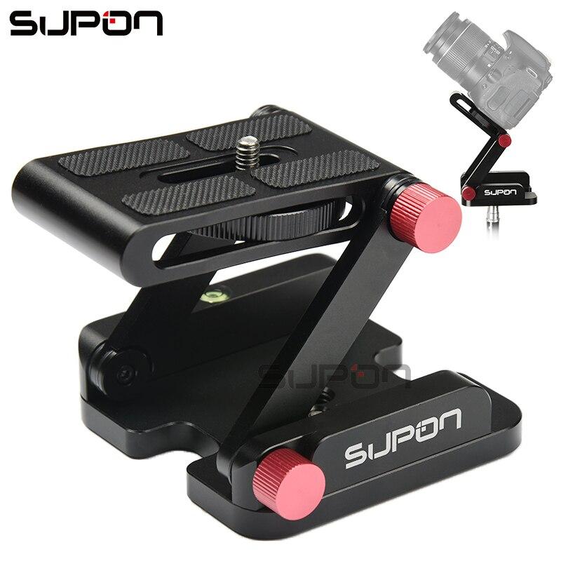 SUPON Z-en forme En Alliage D'aluminium Pliable Caméra De Bureau Support À Dégagement Rapide Plaque Tilt Tête pour Nikon Canon Sony Pentax DSLR