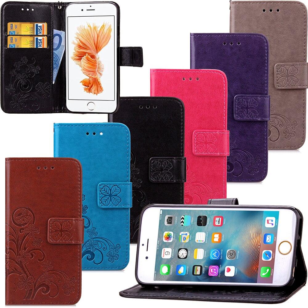Funda de trébol para Apple iPhone 5 5S SE 5C Funda de cuero Luxry Flip Capa teléfono móvil accesorios para iPhone funda para teléfono 5G