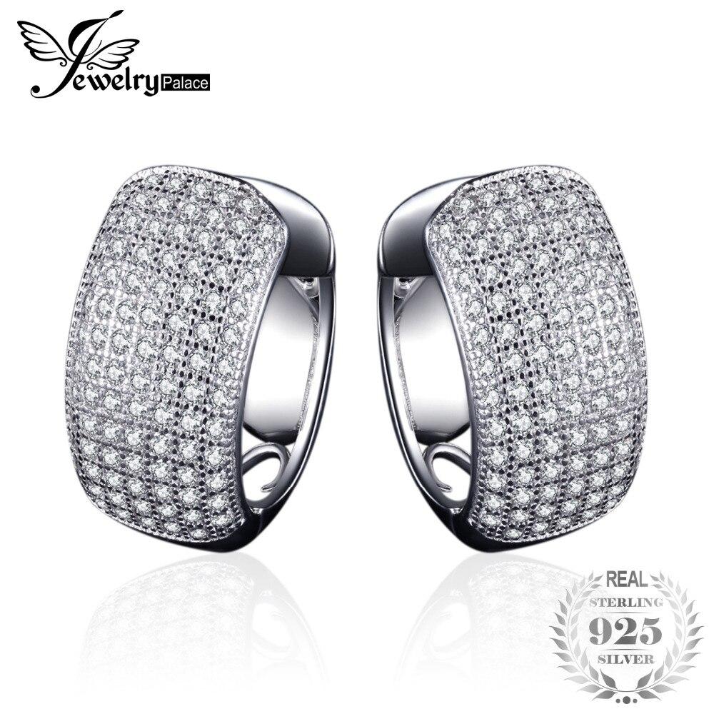 Jewelrypalace модные 1.8ct Круглый клип на Серьги 925 стерлингового серебра Серьги украшения для Для женщин подарок