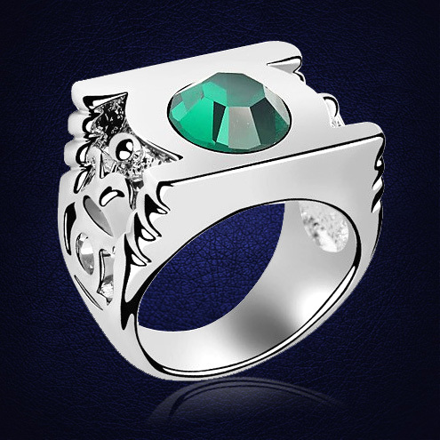 Green Lantern Ring Austria Crystal  Fashion Rings For Women Man Party Accessories Statement Jewelry Anel Bijoux