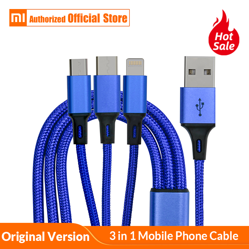 Original USB Cable For iPhone X 8 7 6 3 in 1 Type C Micro USB