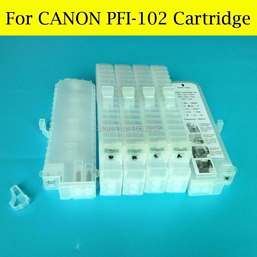 6 Color PFI-102 Refillable Ink Cartridge With ARC Chip For Canon iPF600 iPF700 iPF610 iPF605 iPF710 iPF720 LP17 LP24 Printer 5 color set refillable ink cartridge for canon pfi 705 for canon ipf810 ipf815 ipf820 ipf825 printer with chip
