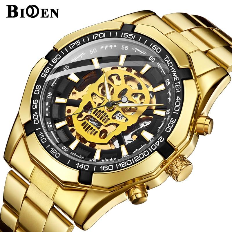 Schedel Mechanisch Horloge Heren Ontwerp Top Merk Luxe Gouden Roestvrij Stalen Band Skeleton Man Automatische Polshorloge-in Quartz Horloges van Horloges op  Groep 1