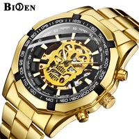 Skull Mechanical Watch Mens Design Top Brand Luxury Golden Stainless Steel Strap Skeleton Man Automatical Wrist Watch