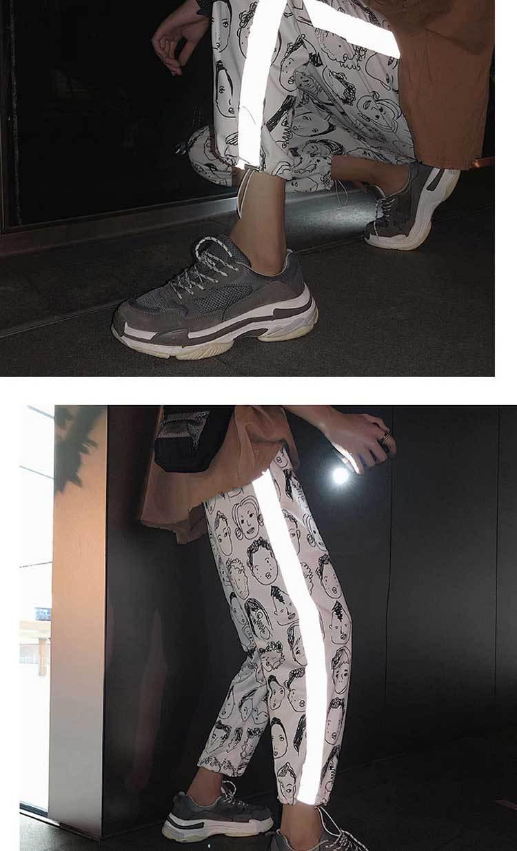 HOUZHOU Reflective Harem Gothic Pants Women Hip Hop Streetwear Ankle Length Trousers Plus Size Mid Loose Pencil Pantalon Female 5