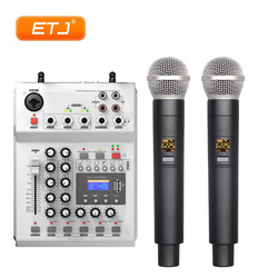Audio Console With UHF Wireless 2 Channel Handheld Mix Audio Mixer Treble Bass Reverb Function C-9900