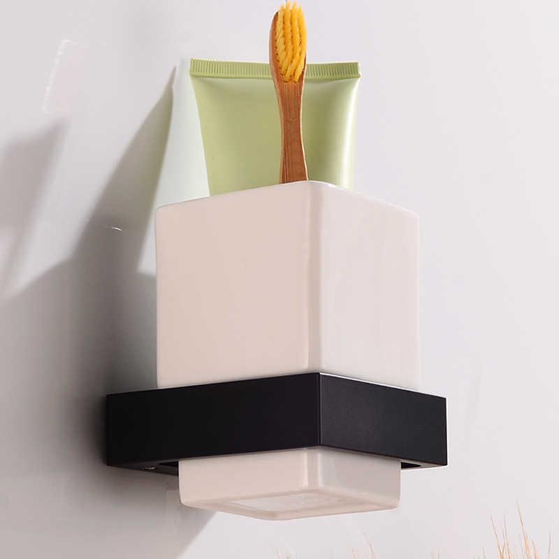Uchwyt szczoteczki do zębów kubek pojedynczy uchwyt na kubek do montażu na ścianie półki łazienkowe aluminium akcesoria łazienkowe szczoteczka do zębów zestaw świeczników