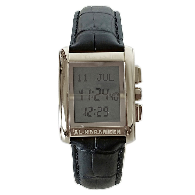 Azan montre pour tous les musulmans 100% Original islamique musulman montre bracelet avec boîte en cuir mosquée prière horloge 6208 argent