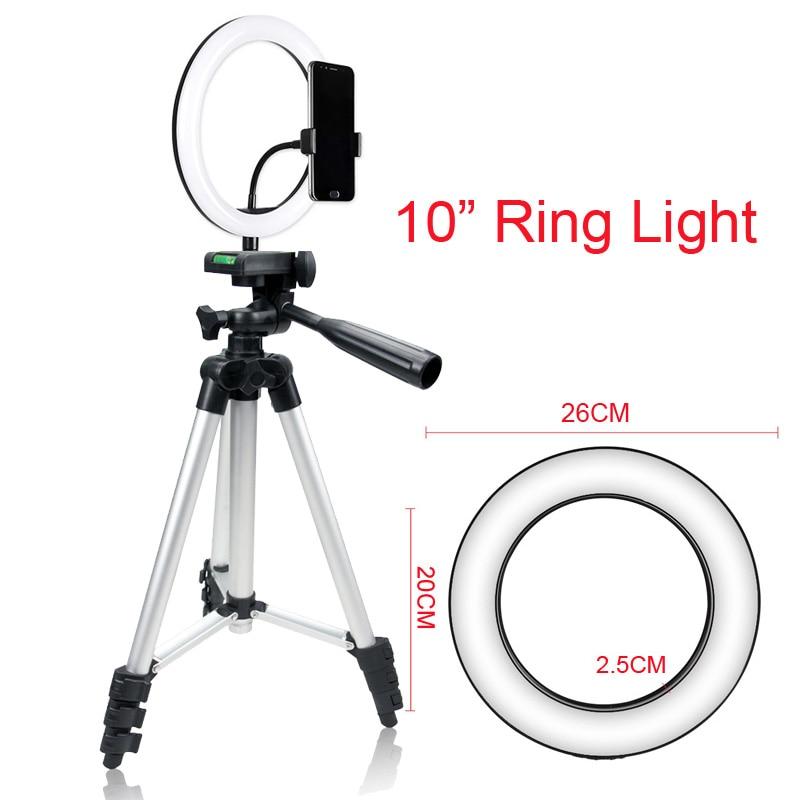 Photo Studio 10 Selfie Ring Light 3 Model Color Dimmable USB Plug 120 LEDs Photographic Lighting