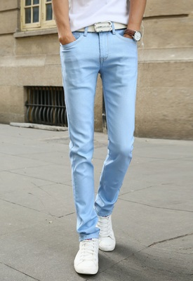 Мужские обтягивающие джинсовые брюки, небесно-голубые/белые однотонные зауженные джинсы, брюки стрейч, повседневный стиль, на весну-лето - Цвет: Небесно-голубой
