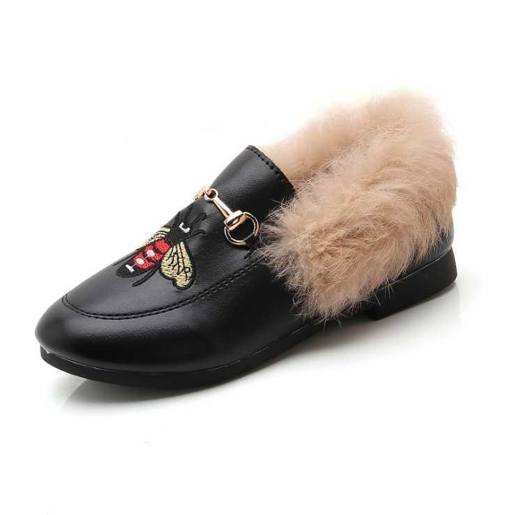 Winter kids fashion single shoes 2019 warm plush soft bottom big big bee Korean version of casual girls single shoes