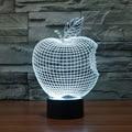 Lâmpada Forma de maçã 3D Visual Led Luzes Da Noite para o Miúdo Lampe Lampara Pois Além de Toque USB lâmpada de Mesa Do Bebê Dormir Nightlight