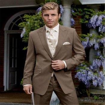 Custom Made Two Buttons Brown Groom Tuxedos Peak Lapel Groomsmen Men Wedding Tuxedos Prom Suits (Jacket+Pants+Vest+Tie)
