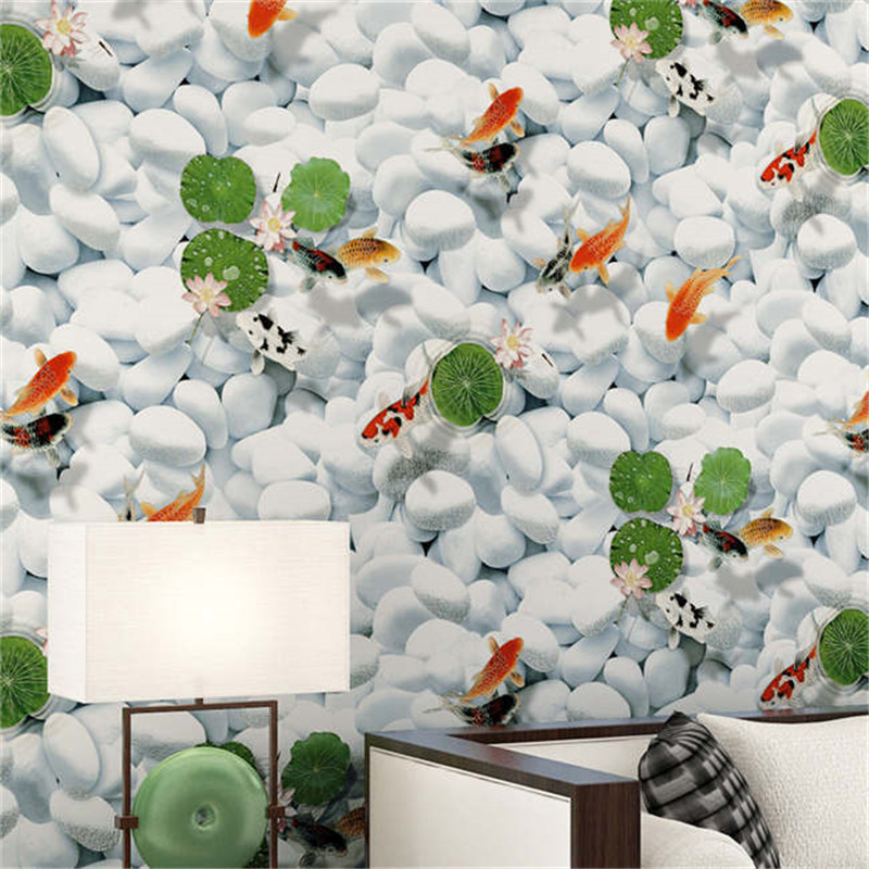 ФОТО beibehang fabric wallpaper year with fish pattern warm bedroom living room sofa TV background wallpaper papel de parede