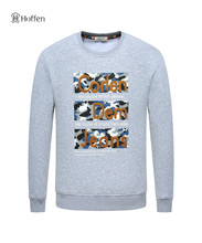 Hoffen mens sweatshirts hoodies o neck letter print warm fleece men's pullover solid color casual harajuku outwear sweatshirt