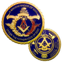 цена на 5pcs/lot Colorful metal crafts 1 oz 24 k gold plated Masonic medals coins with capsules Freemasonry coins collectibles 40*3mm