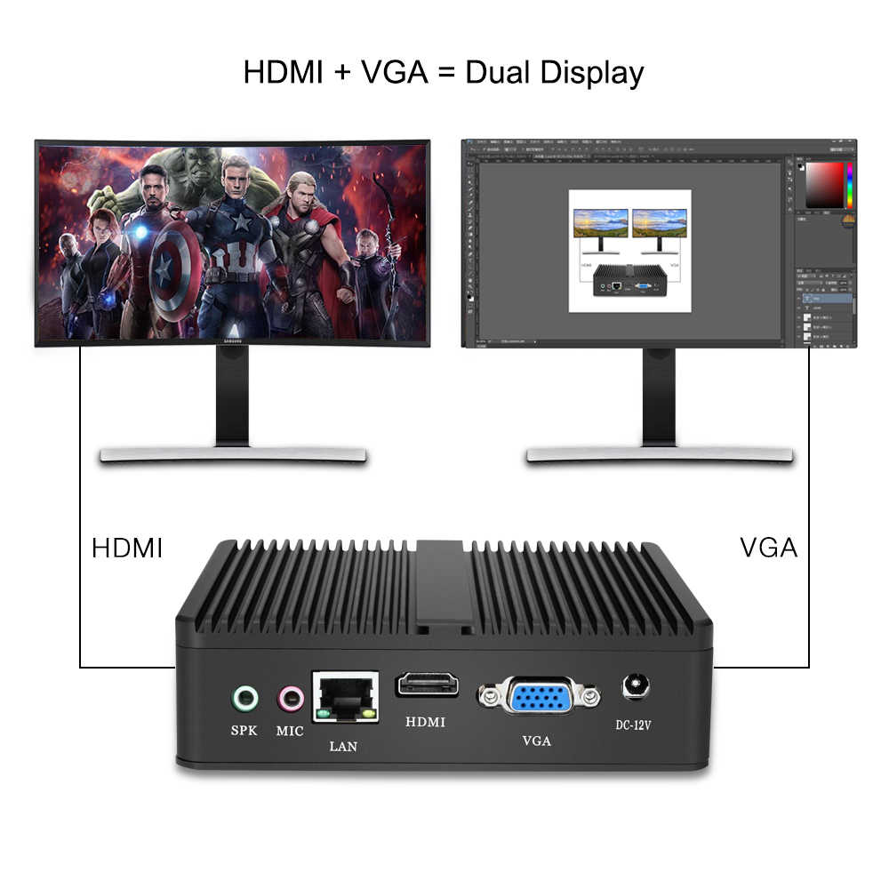 HLY Mini Fanless PC Core i5 4210Y 2955U 4405U Pentium Celeron Janelas Ubuntu 10 VGA HDMI Wi-fi HTPC Barebone Escritório mini Computador