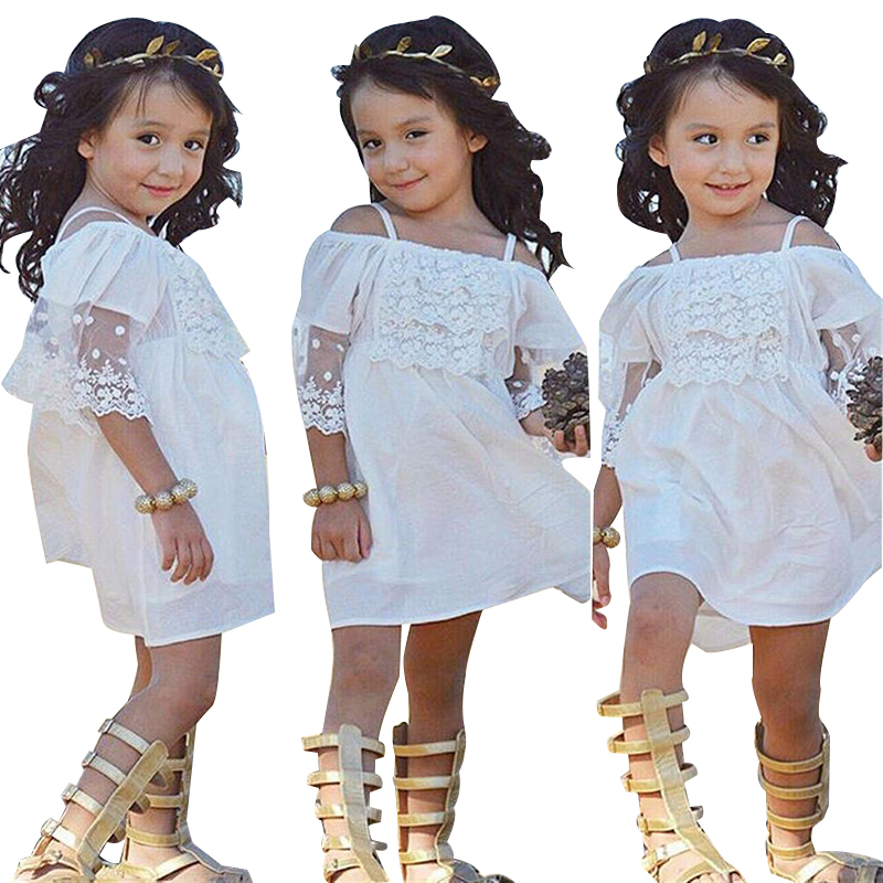 2018 Lace Princess Dress Girl Clothing Kid Party Wedding Pageant Formal Dresses Girl Bare shoulder Dress Baby Children Clothing lace girl clothing princess dress kid baby party wedding pageant formal mini cute white dresses clothes baby girls
