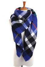 Lady Women Blanket royal bule comfortable warm oversized tartan scarf wrap shawl