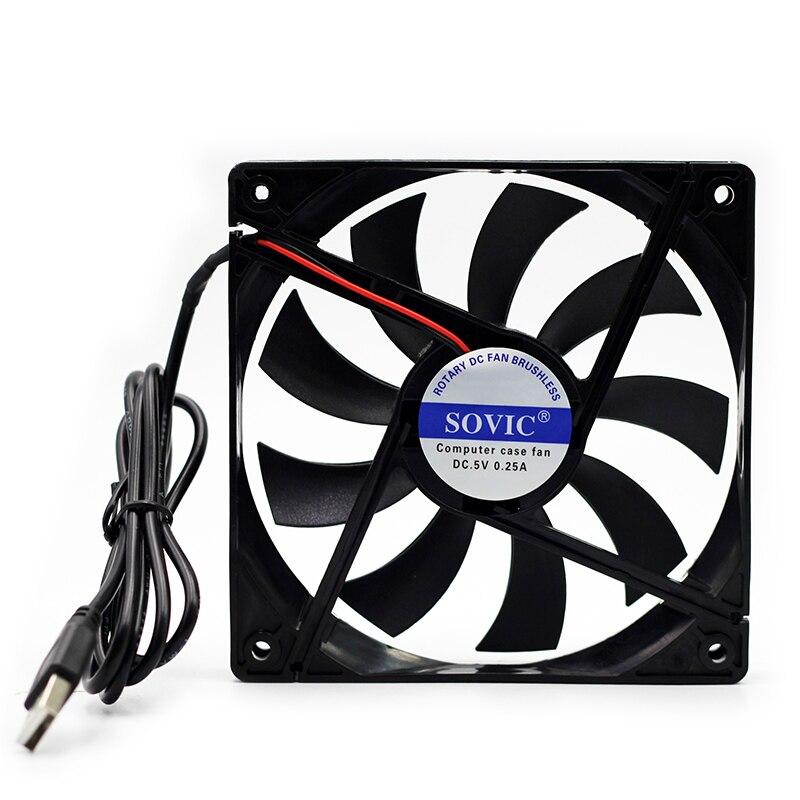 12 CM haute vitesse calme bruit ventilateur, 120mm x 120mm x 20mm DC 5 V USB haut débit chat. TV set-top box, ordinateur châssis radiateur
