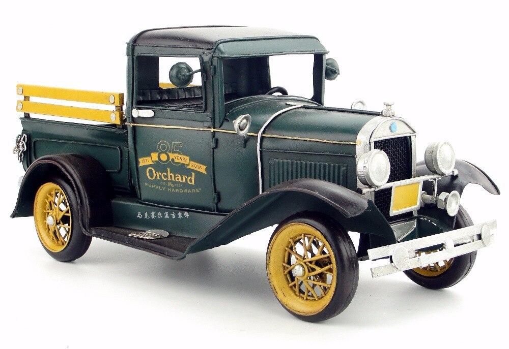 Ranch ferme Pick-up classique voitures vintage étain modèle de creative artisanat ornements rétro accessoires pour la maison salon
